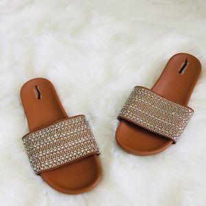 NEW Camel Rhinestone Thick Strap Slip On Sandals
